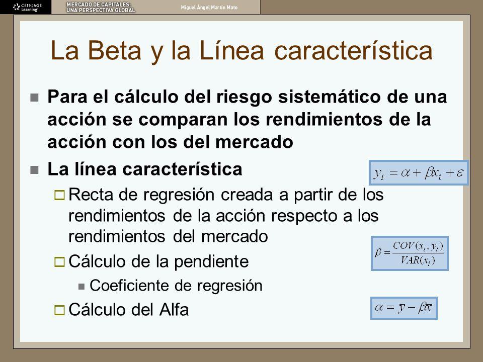 La Beta y la Línea característica Para el cálculo del riesgo sistemático de una acción se comparan los rendimientos de la acción con los del mercado L