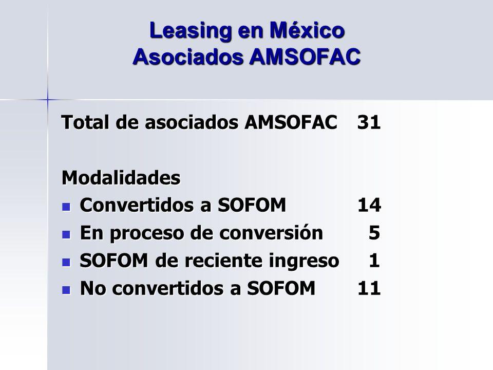 Total de asociados AMSOFAC31 Modalidades Convertidos a SOFOM14 Convertidos a SOFOM14 En proceso de conversión 5 En proceso de conversión 5 SOFOM de reciente ingreso 1 SOFOM de reciente ingreso 1 No convertidos a SOFOM11 No convertidos a SOFOM11 Leasing en México Asociados AMSOFAC