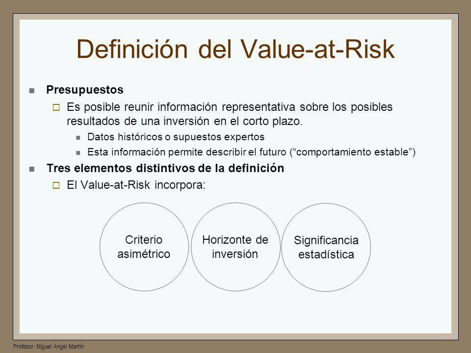 Profesor: Miguel Angel Martín Definición del Value-at-Risk Presupuestos Es posible reunir información representativa sobre los posibles resultados de