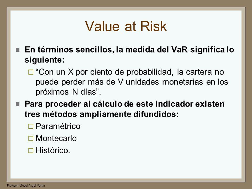 Profesor: Miguel Angel Martín Value at Risk En términos sencillos, la medida del VaR significa lo siguiente: Con un X por ciento de probabilidad, la c