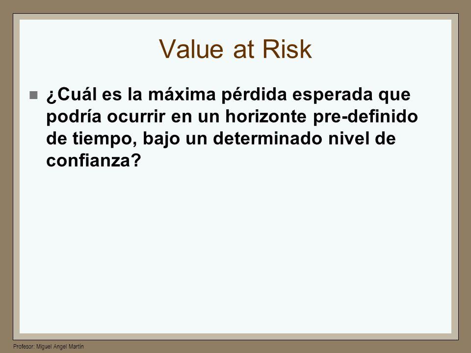 Profesor: Miguel Angel Martín Value at Risk ¿Cuál es la máxima pérdida esperada que podría ocurrir en un horizonte pre-definido de tiempo, bajo un det