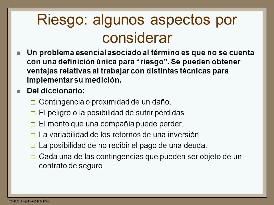 Profesor: Miguel Angel Martín VaR de Montecarlo Supuestos El supuesto clave es que es posible conocer la función de distribución de rendimientos (futuros) de la inversión o paquete de inversiones que se plantea manejar.