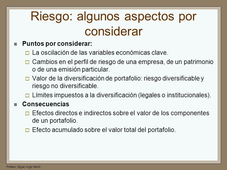 Profesor: Miguel Angel Martín Riesgo: algunos aspectos por considerar Puntos por considerar: La oscilación de las variables económicas clave. Cambios