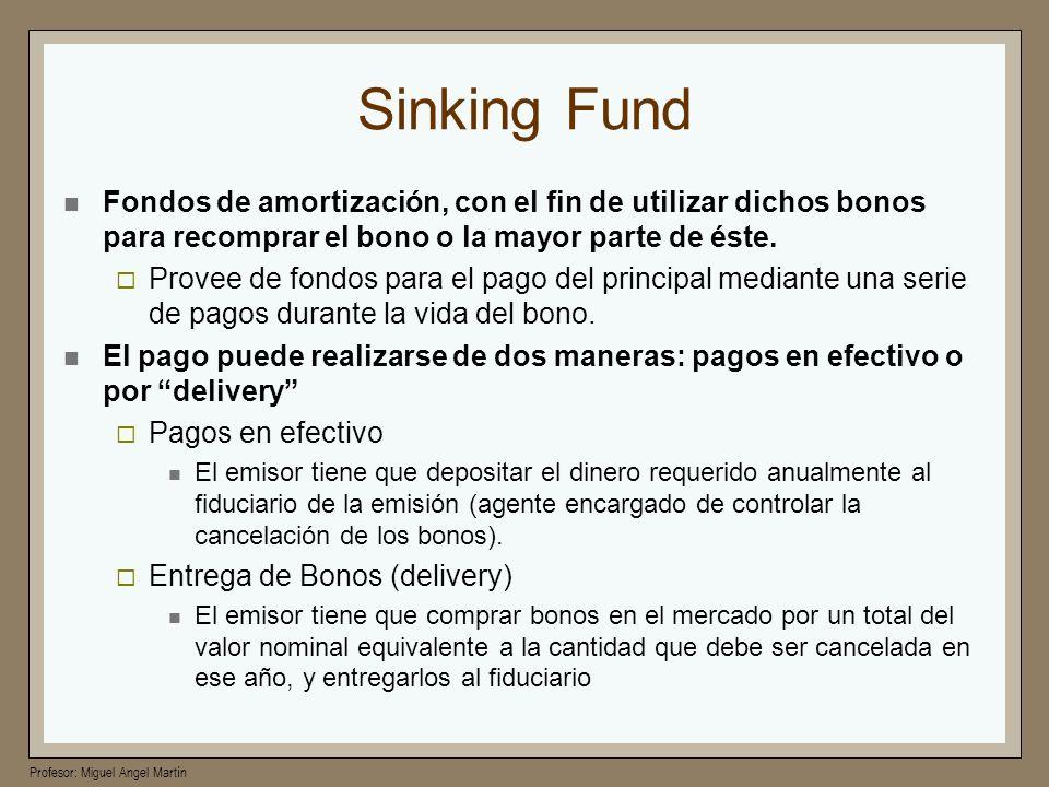 Profesor: Miguel Angel Martín Sinking Fund Fondos de amortización, con el fin de utilizar dichos bonos para recomprar el bono o la mayor parte de éste
