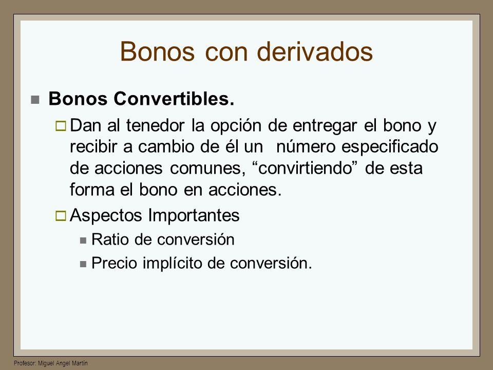 Profesor: Miguel Angel Martín Bonos con derivados Bonos Convertibles. Dan al tenedor la opción de entregar el bono y recibir a cambio de él unnúmero e