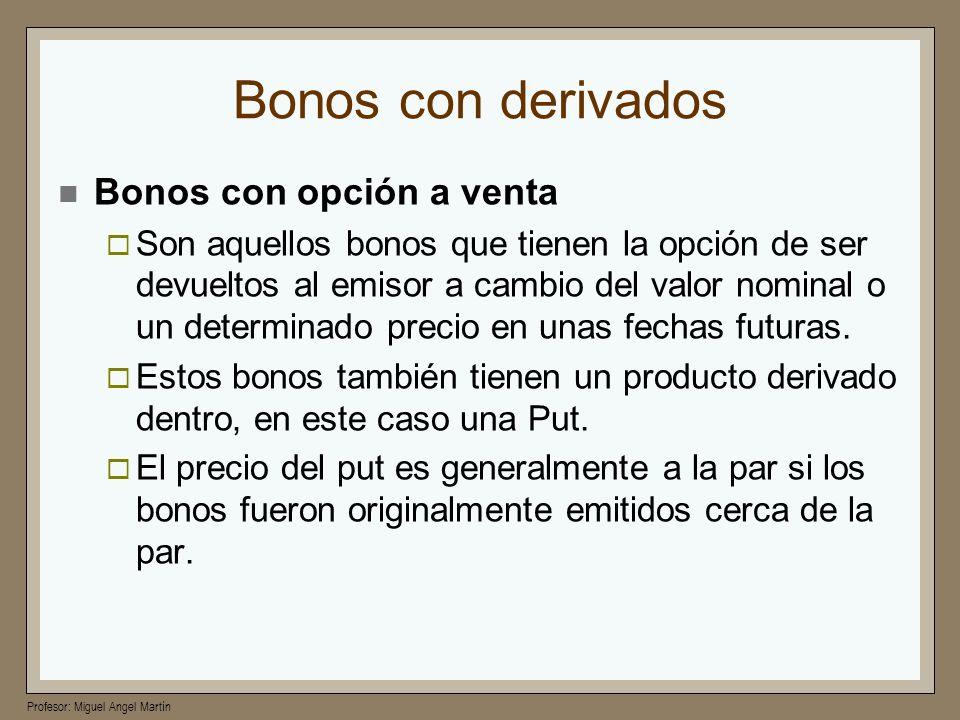 Profesor: Miguel Angel Martín Bonos con derivados Bonos con opción a venta Son aquellos bonos que tienen la opción de ser devueltos al emisor a cambio