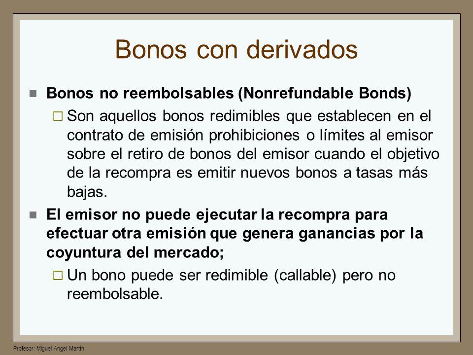 Profesor: Miguel Angel Martín Bonos con derivados Bonos no reembolsables (Nonrefundable Bonds) Son aquellos bonos redimibles que establecen en el cont