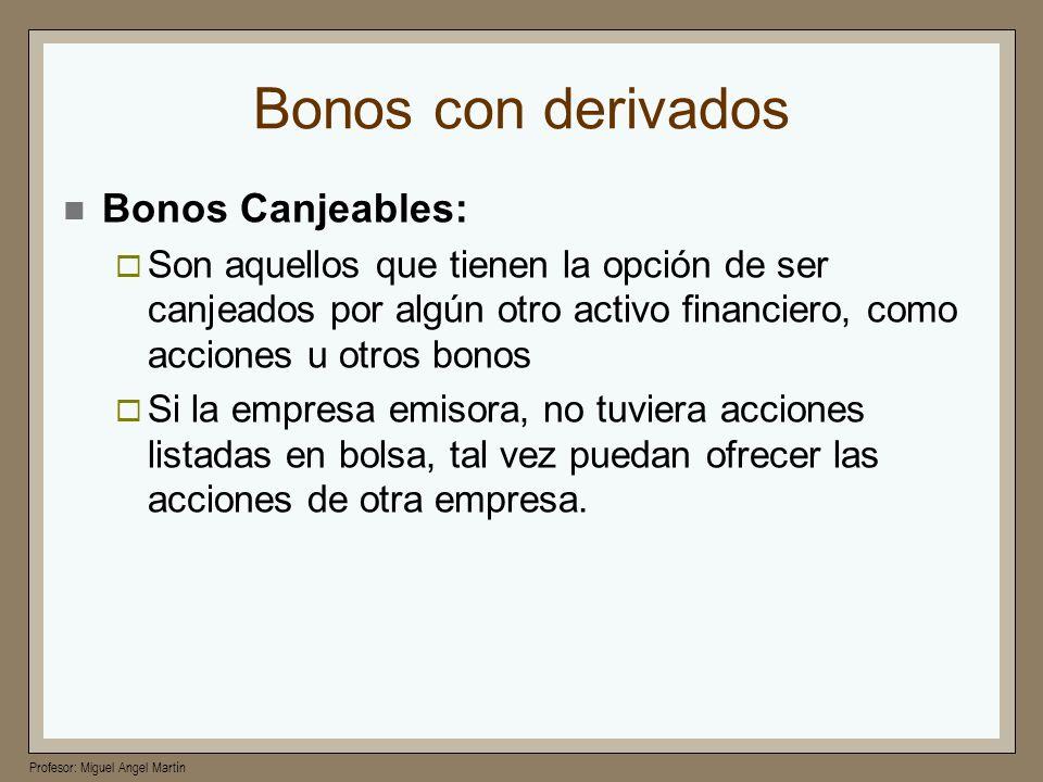 Profesor: Miguel Angel Martín Bonos con derivados Bonos Canjeables: Son aquellos que tienen la opción de ser canjeados por algún otro activo financier