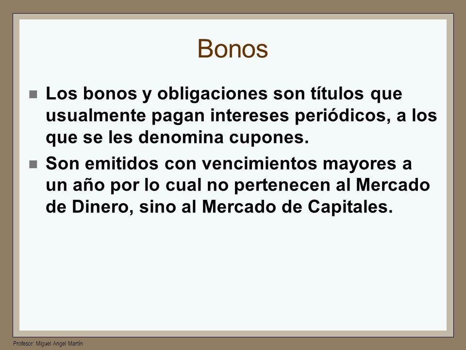 Profesor: Miguel Angel Martín Bonos Los bonos y obligaciones son títulos que usualmente pagan intereses periódicos, a los que se les denomina cupones.