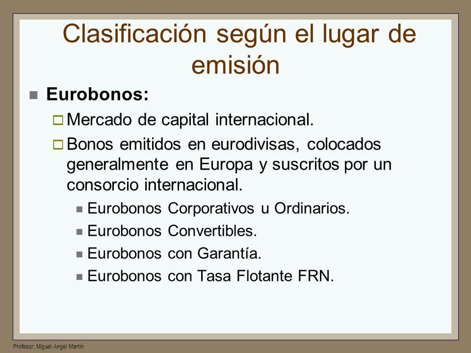 Profesor: Miguel Angel Martín Clasificación según el lugar de emisión Eurobonos: Mercado de capital internacional. Bonos emitidos en eurodivisas, colo