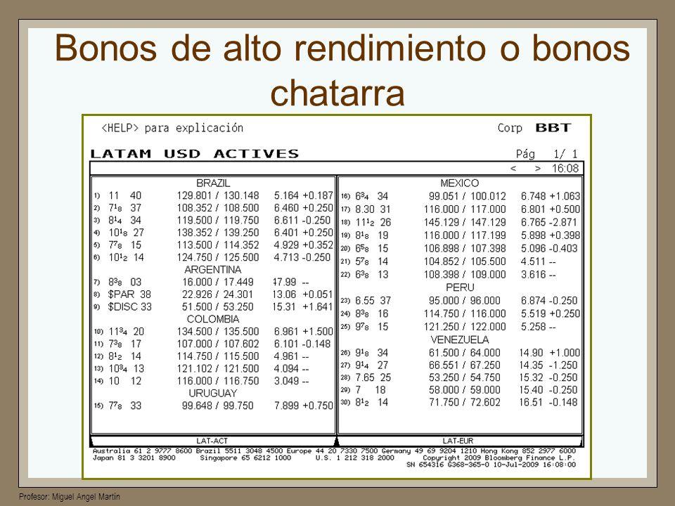 Profesor: Miguel Angel Martín Bonos de alto rendimiento o bonos chatarra