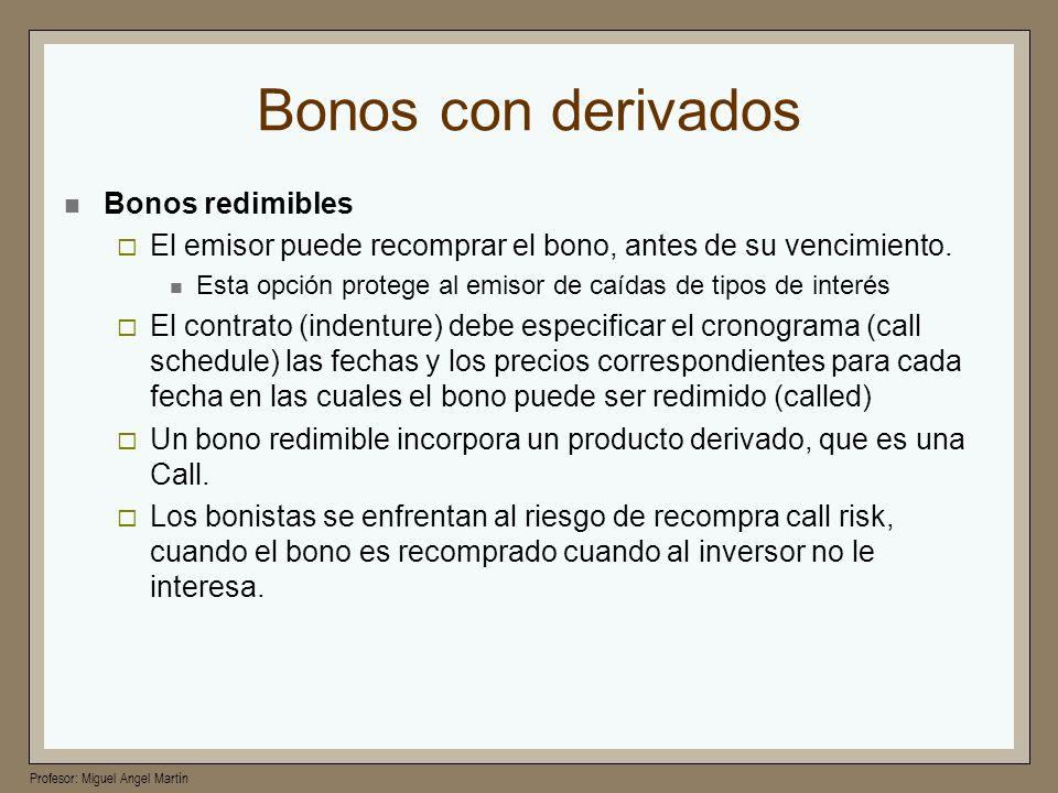 Profesor: Miguel Angel Martín Bonos con derivados Bonos redimibles El emisor puede recomprar el bono, antes de su vencimiento. Esta opción protege al