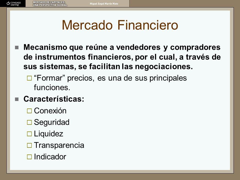 Mercado Financiero Mecanismo que reúne a vendedores y compradores de instrumentos financieros, por el cual, a través de sus sistemas, se facilitan las