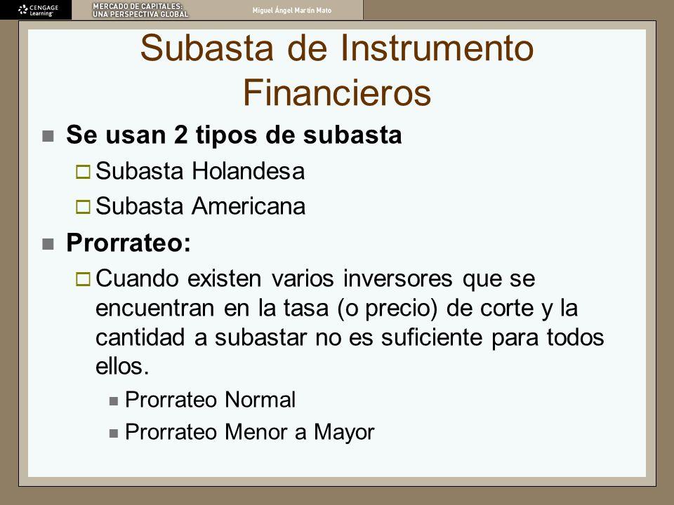 Subasta de Instrumento Financieros Se usan 2 tipos de subasta Subasta Holandesa Subasta Americana Prorrateo: Cuando existen varios inversores que se e
