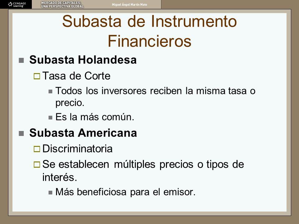 Subasta de Instrumento Financieros Subasta Holandesa Tasa de Corte Todos los inversores reciben la misma tasa o precio. Es la más común. Subasta Ameri