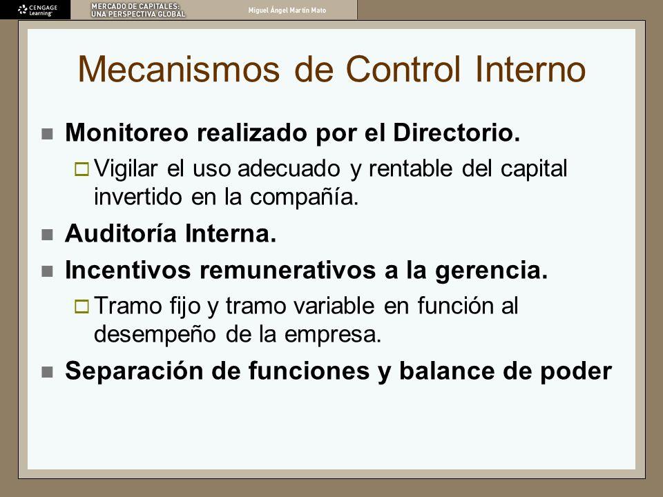 Mecanismos de Control Interno Monitoreo realizado por el Directorio. Vigilar el uso adecuado y rentable del capital invertido en la compañía. Auditorí