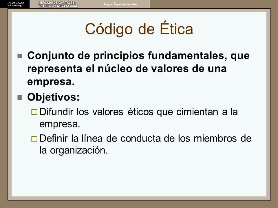 Código de Ética Conjunto de principios fundamentales, que representa el núcleo de valores de una empresa. Objetivos: Difundir los valores éticos que c