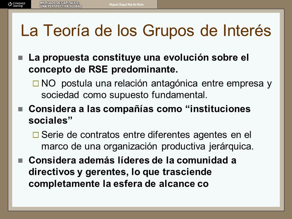 La Teoría de los Grupos de Interés La propuesta constituye una evolución sobre el concepto de RSE predominante. NO postula una relación antagónica ent