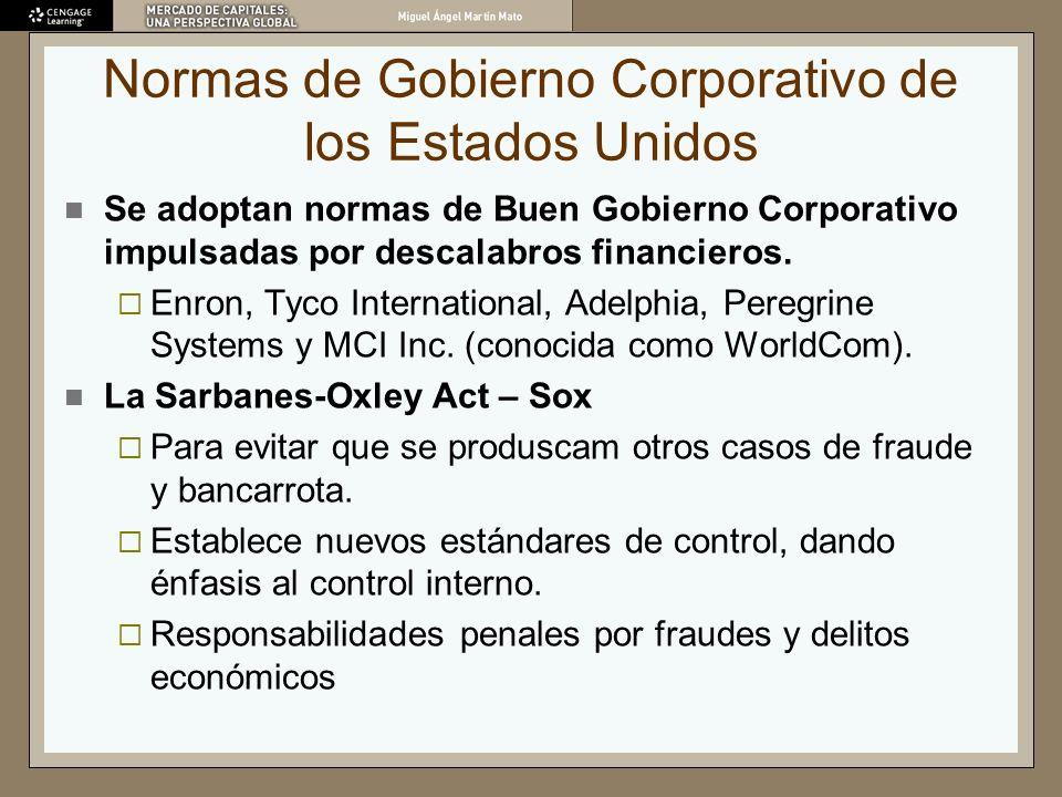 Normas de Gobierno Corporativo de los Estados Unidos Se adoptan normas de Buen Gobierno Corporativo impulsadas por descalabros financieros. Enron, Tyc