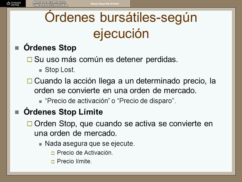 Órdenes bursátiles-según ejecución Órdenes Stop Su uso más común es detener perdidas. Stop Lost. Cuando la acción llega a un determinado precio, la or