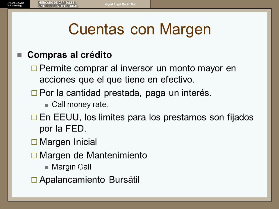 Cuentas con Margen Compras al crédito Permite comprar al inversor un monto mayor en acciones que el que tiene en efectivo. Por la cantidad prestada, p