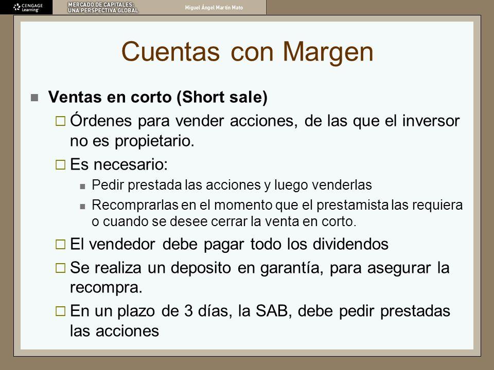 Cuentas con Margen Ventas en corto (Short sale) Órdenes para vender acciones, de las que el inversor no es propietario. Es necesario: Pedir prestada l