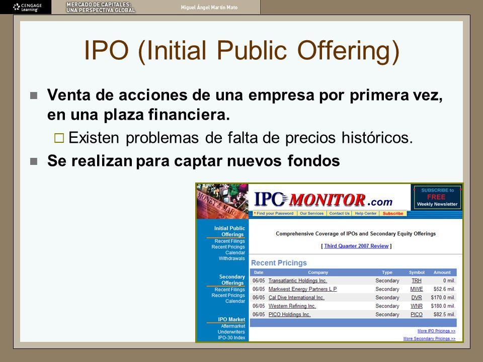 IPO (Initial Public Offering) Venta de acciones de una empresa por primera vez, en una plaza financiera. Existen problemas de falta de precios históri