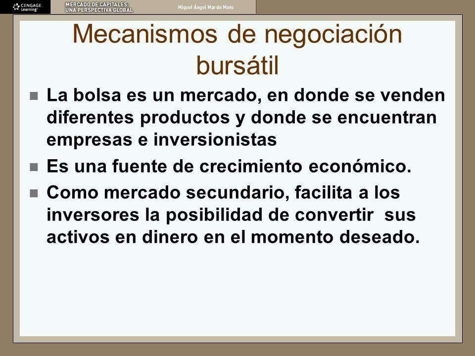 Mecanismos de negociación bursátil La bolsa es un mercado, en donde se venden diferentes productos y donde se encuentran empresas e inversionistas Es