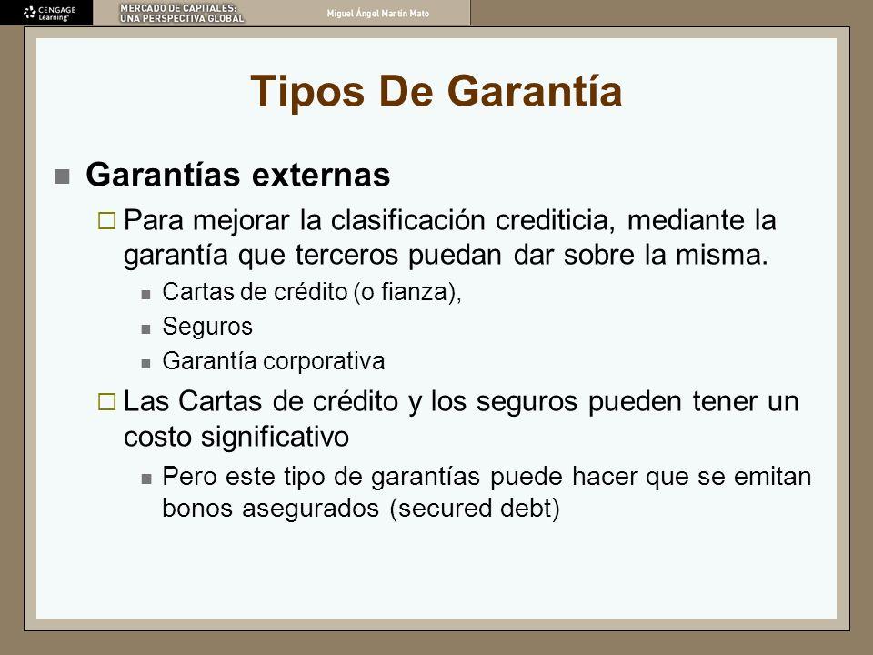 Tipos De Garantía Garantías externas Para mejorar la clasificación crediticia, mediante la garantía que terceros puedan dar sobre la misma. Cartas de