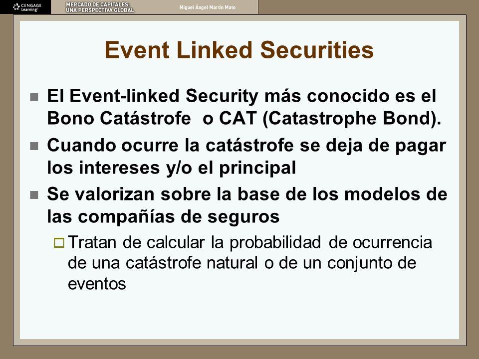 Event Linked Securities El Event-linked Security más conocido es el Bono Catástrofe o CAT (Catastrophe Bond). Cuando ocurre la catástrofe se deja de p