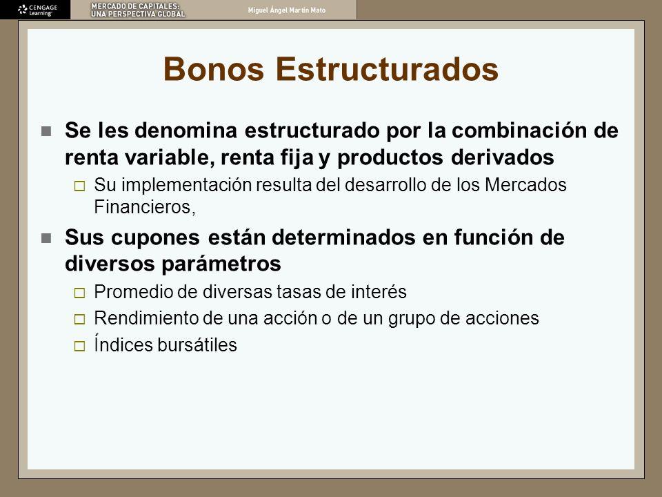 Bonos Estructurados Se les denomina estructurado por la combinación de renta variable, renta fija y productos derivados Su implementación resulta del
