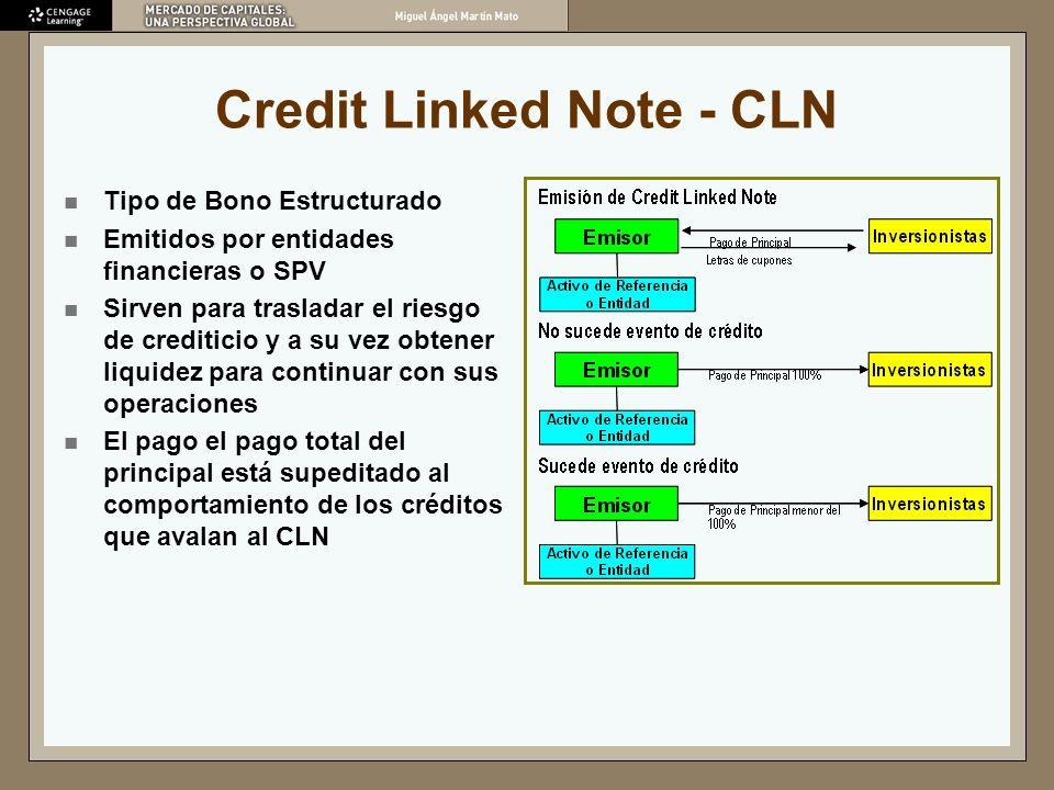Credit Linked Note - CLN Tipo de Bono Estructurado Emitidos por entidades financieras o SPV Sirven para trasladar el riesgo de crediticio y a su vez o