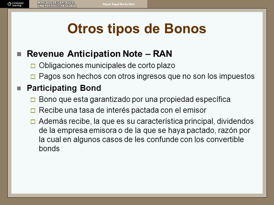 Otros tipos de Bonos Revenue Anticipation Note – RAN Obligaciones municipales de corto plazo Pagos son hechos con otros ingresos que no son los impues