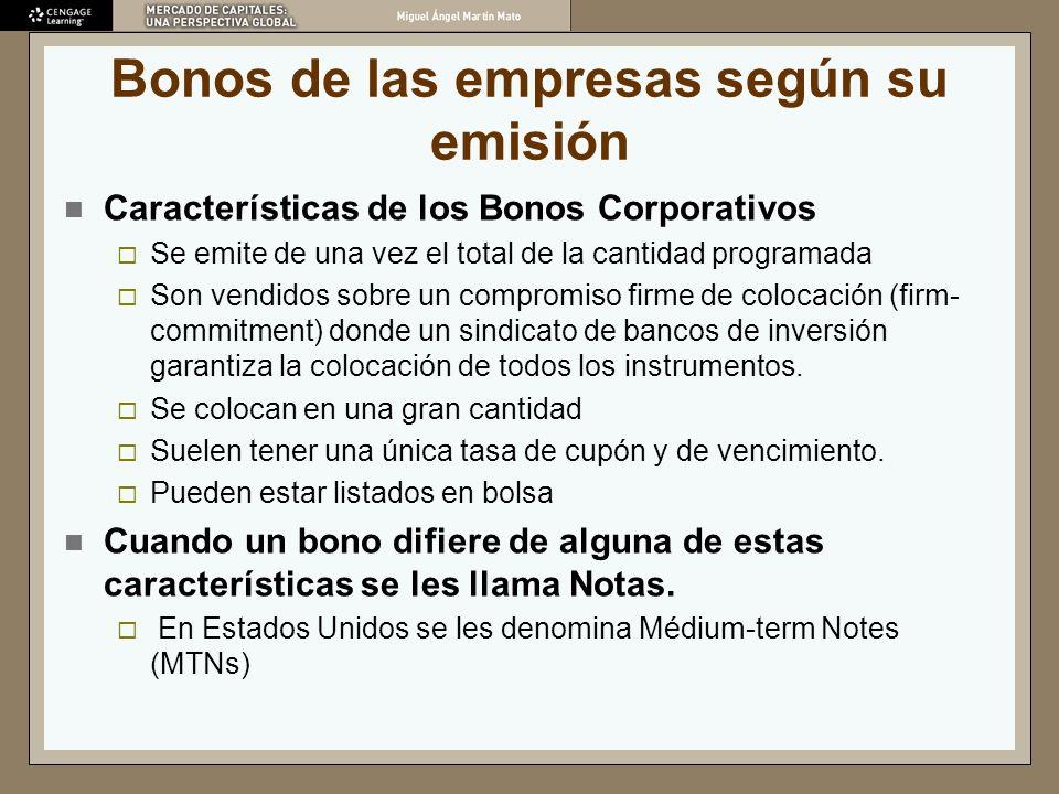Bonos de las empresas según su emisión Características de los Bonos Corporativos Se emite de una vez el total de la cantidad programada Son vendidos s