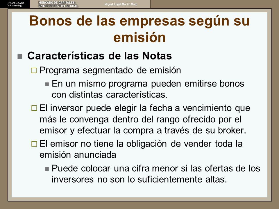 Bonos de las empresas según su emisión Características de las Notas Programa segmentado de emisión En un mismo programa pueden emitirse bonos con dist