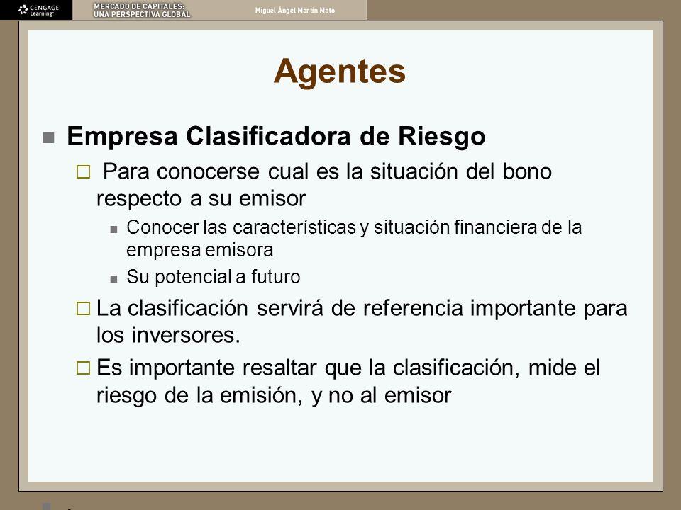Agentes Empresa Clasificadora de Riesgo Para conocerse cual es la situación del bono respecto a su emisor Conocer las características y situación fina