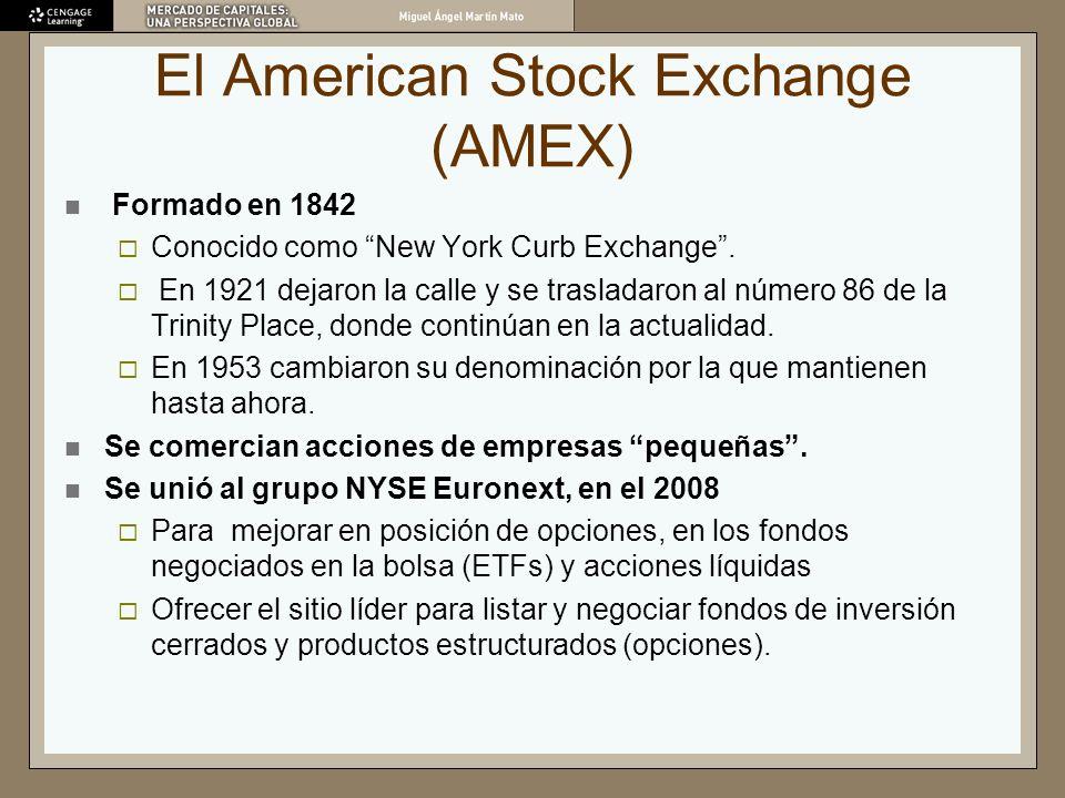 El American Stock Exchange (AMEX) Formado en 1842 Conocido como New York Curb Exchange. En 1921 dejaron la calle y se trasladaron al número 86 de la T