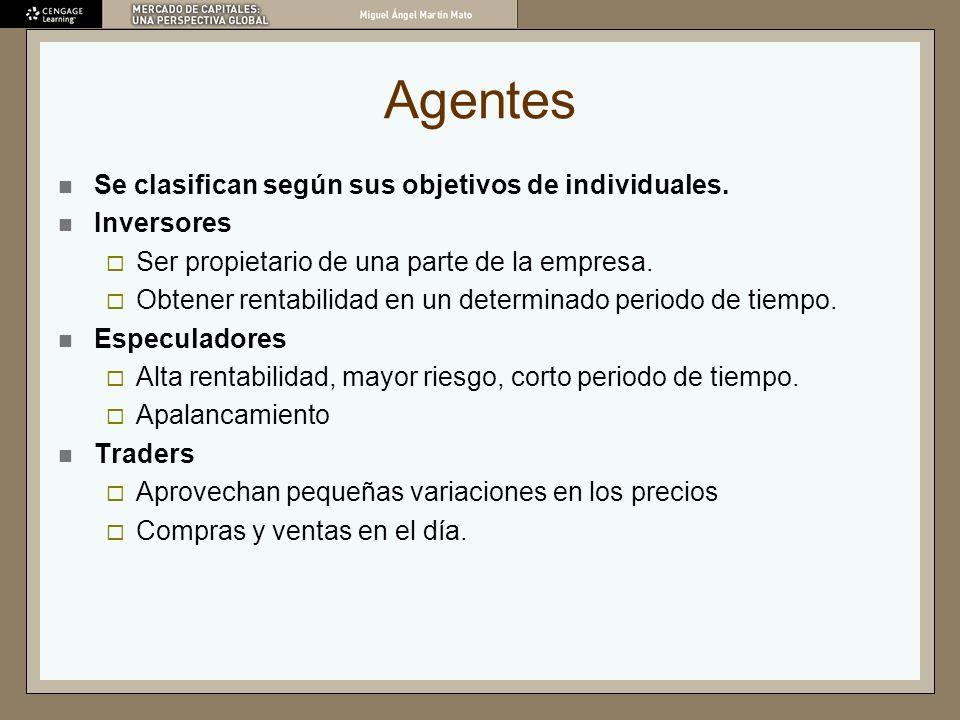 Agentes Se clasifican según sus objetivos de individuales. Inversores Ser propietario de una parte de la empresa. Obtener rentabilidad en un determina