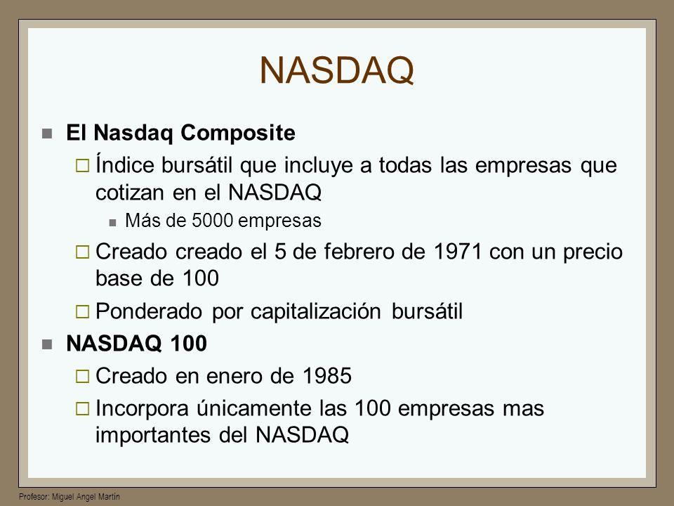 Profesor: Miguel Angel Martín NASDAQ El Nasdaq Composite Índice bursátil que incluye a todas las empresas que cotizan en el NASDAQ Más de 5000 empresa
