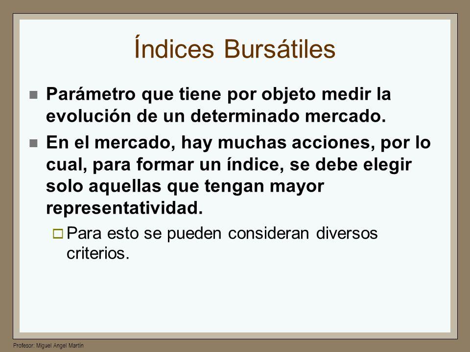 Profesor: Miguel Angel Martín Índices Bursátiles Parámetro que tiene por objeto medir la evolución de un determinado mercado. En el mercado, hay mucha