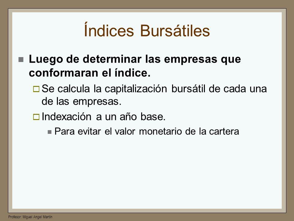 Profesor: Miguel Angel Martín Índices Bursátiles Luego de determinar las empresas que conformaran el índice. Se calcula la capitalización bursátil de