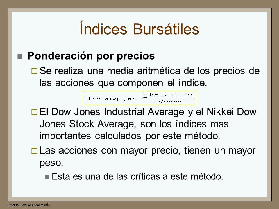 Profesor: Miguel Angel Martín Índices Bursátiles Ponderación por precios Se realiza una media aritmética de los precios de las acciones que componen e