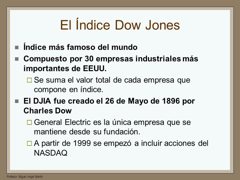 Profesor: Miguel Angel Martín El Índice Dow Jones Índice más famoso del mundo Compuesto por 30 empresas industriales más importantes de EEUU. Se suma