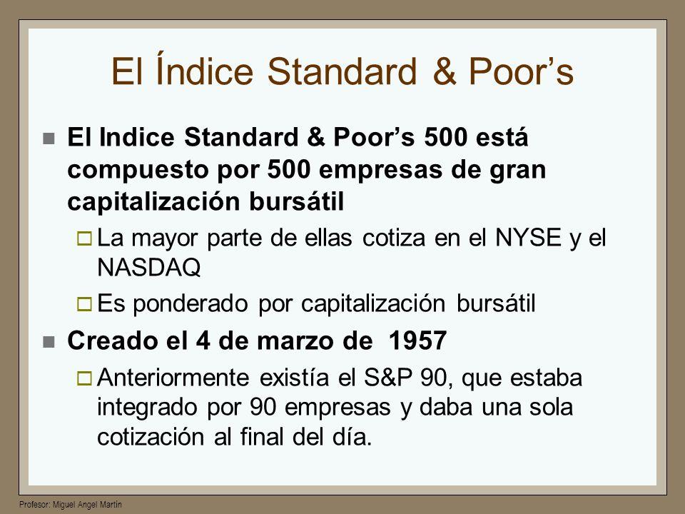 Profesor: Miguel Angel Martín El Índice Standard & Poors El Indice Standard & Poors 500 está compuesto por 500 empresas de gran capitalización bursáti