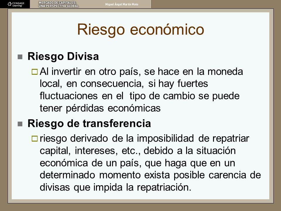 Riesgo económico Riesgo Divisa Al invertir en otro país, se hace en la moneda local, en consecuencia, si hay fuertes fluctuaciones en el tipo de cambi