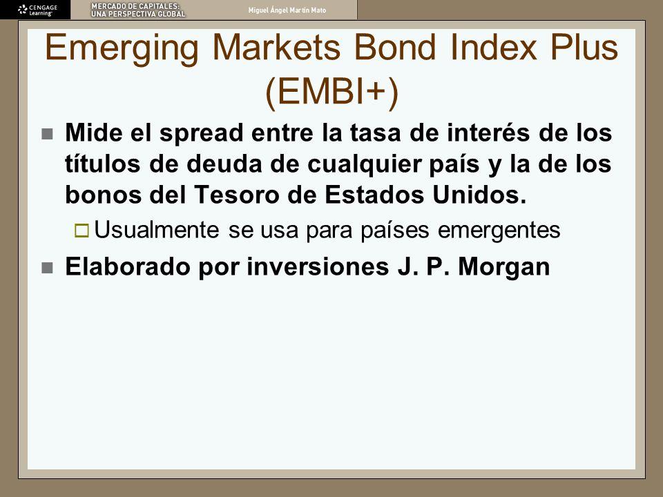 Emerging Markets Bond Index Plus (EMBI+) Mide el spread entre la tasa de interés de los títulos de deuda de cualquier país y la de los bonos del Tesor