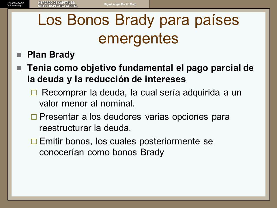 Los Bonos Brady para países emergentes Plan Brady Tenia como objetivo fundamental el pago parcial de la deuda y la reducción de intereses Recomprar la