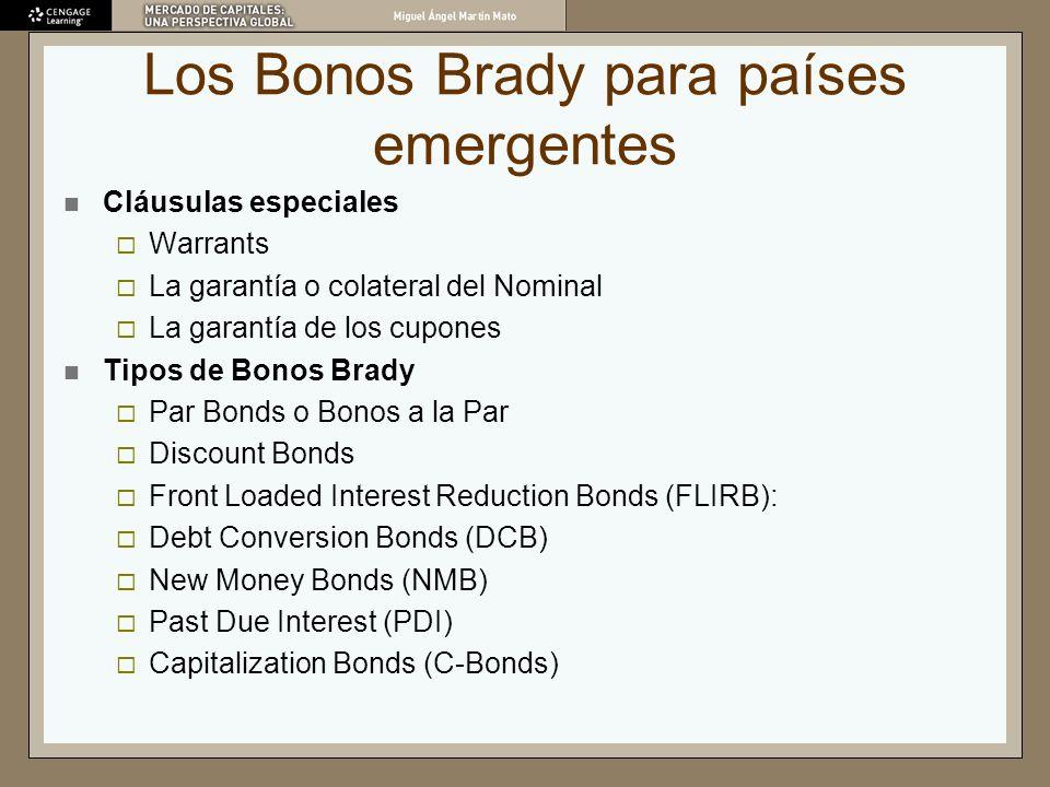 Cláusulas especiales Warrants La garantía o colateral del Nominal La garantía de los cupones Tipos de Bonos Brady Par Bonds o Bonos a la Par Discount