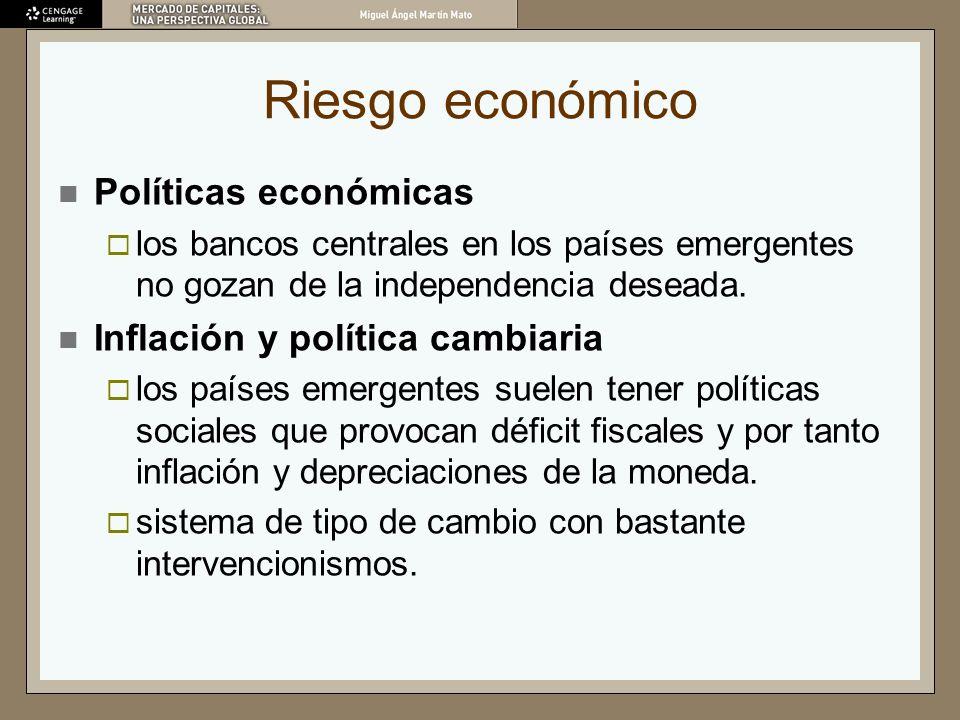 Riesgo económico Políticas económicas los bancos centrales en los países emergentes no gozan de la independencia deseada. Inflación y política cambiar