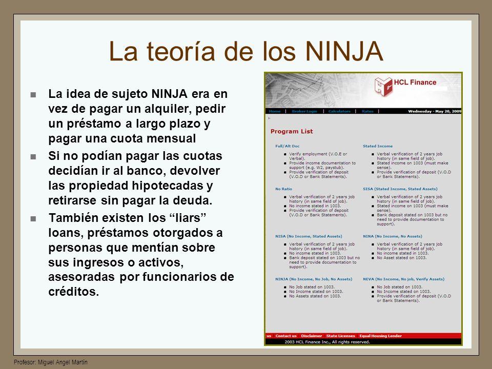 Profesor: Miguel Angel Martín La teoría de los NINJA La idea de sujeto NINJA era en vez de pagar un alquiler, pedir un préstamo a largo plazo y pagar